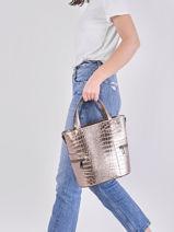Leather Croco Handbag Milano Silver croco CR20121-vue-porte
