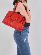 Shoulder Bag Tradition Leather Etrier Red tradition EHER27-vue-porte