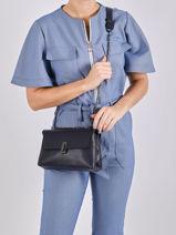 Leather Velvet Crossbody Bag Milano Blue caviar CA20124-vue-porte