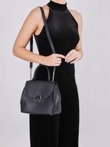 Leather Foulonné Pia Top-handle Bag Lancaster Blue foulonne pia 62-vue-porte