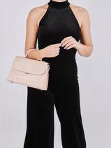 Leather Exotic Croco Top-handle Bag Lancaster Pink exotic croco 85-vue-porte