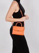 Leather Exotic Croco Crossbody Bag Lancaster Orange exotic croco 84-vue-porte