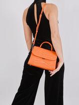 Leather Exotic Croco Top-handle Bag Lancaster Orange exotic croco 85-vue-porte