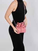 Leather Ninon Mini Bucket Bag Lancel Pink ninon A11466-vue-porte