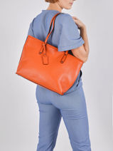 Leather Caviar Tote Bag Milano Orange CA19111N-vue-porte