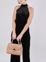 Leather Foulonné Pia Top-handle Bag Lancaster Beige foulonne pia 65-vue-porte
