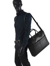 "Leather 15"" Vintage Briefcase Burkely river 733922-vue-porte"