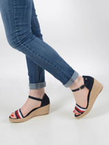 Low wedge leather sandals-TOMMY HILFIGER-vue-porte