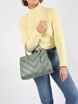 Perforé Satchel David jones Green perf 2-vue-porte