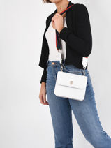 Shoulder Bag Tommy Staple Tommy hilfiger White tommy staple AW10040-vue-porte
