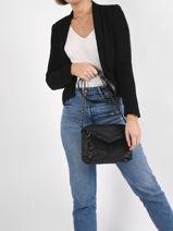 Leather Gina Crossbody Bag Pieces Black gina 17111478-vue-porte