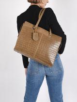 """Leather Croco Caia Shoulder Bag + Pc15"""" Burkely Brown croco caia 29-vue-porte"""