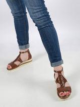 Leather wedge sandals-TAMARIS-vue-porte