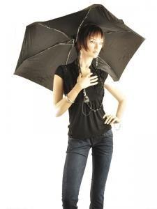 Umbrella Auto Mini Isotoner Black auto mini 09145-vue-porte