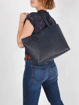 Leather Olivia Tote Bag Nathan baume Blue nathan 43-vue-porte