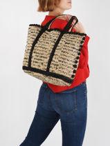 Raffia Le Cabas Tote Bag Vanessa bruno Beige cabas raphia 76V40414-vue-porte