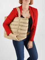 Raffia Le Cabas Tote Bag Vanessa bruno Brown cabas raphia 27V40411-vue-porte