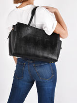 Leather Dakota Shoulder Bag Nat et nin Black lezard L-vue-porte