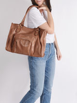 Leather Pop Tote Bag Basilic pepper Brown pop BPOC31-vue-porte