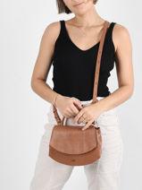 Shoulder Bag Lezard Leather Nat et nin Brown lezard SAKURA-vue-porte