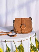 Leather Velvet Saddle Bag Milano Brown velvet VB20123