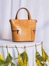 Leather Croco Handbag Milano Brown croco CR20121