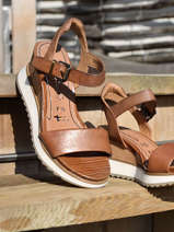 Leather wedge sandals-TAMARIS