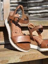 Sandales talon compensé en cuir-TAMARIS