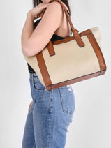 Shoulder Bag A4 Ecrins Leather Etrier Beige ecrins EECR11-vue-porte