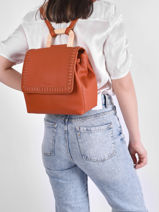 Backpack Woomen Orange glaieul WGLA06-vue-porte