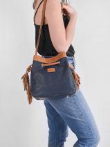 Shoulder Bag Tornade Leather Etrier Blue tornade ETOR17-vue-porte