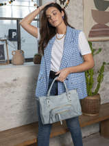 Leather Pop Satchel Basilic pepper Blue pop BPOC22
