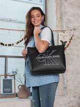 Leather Denim Shoulder Bag Calvin klein jeans Black denim K607647