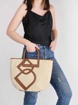 Shoulder Bag Deauville Etrier Beige deauville EDEA05-vue-porte