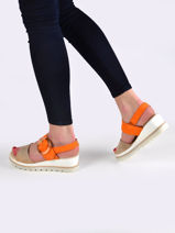 Low wedge leather sandals-GABOR-vue-porte