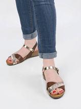 Low wedge leather norte sandals-PLAKTON-vue-porte