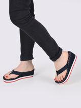 Stripy footbed beach sandal-TOMMY HILFIGER-vue-porte