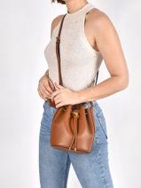 Leather Debby Ii Mini Drawstring Bag Lauren ralph lauren Brown andie - 31837534-vue-porte