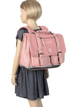 Wheeled Schoolbag For Girls 2 Compartments Cameleon Pink vintage fantasy PBVGCA38-vue-porte
