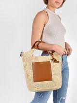 Sac Cabas Convert En Paille Crocheté Lauren ralph lauren Marron dryden 31826811-vue-porte