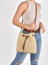 Straw Debby Bucket Bag Lauren ralph lauren Beige dryden 31826559-vue-porte