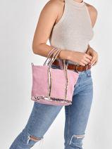 Small Cabas Raffia, Linnen And Sequins Vanessa bruno Pink cabas 31V40435-vue-porte
