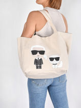 K Ikonik Karl & Choupette Tote Bag Karl lagerfeld Beige k ikonic - 205W3095-vue-porte