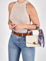 Leather Madison Crossbody Bag With Scarf Lauren ralph lauren White elmswood 31826831-vue-porte