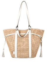 Leather And Straw Elsa Vichy Tote Bag Lancel Beige elsa A11429