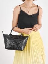 Longchamp Le pliage cuir croco Handbag Black-vue-porte