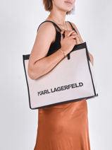 Sac Cabas K/skuare Canvas Et Cuir Karl lagerfeld Beige k skuare 211W3020-vue-porte