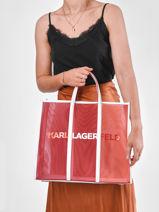 K/printed Mesh Tote Bag Karl lagerfeld Red k printed 211W3909-vue-porte