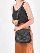 Crossbody Bag Vintage Leather Paul marius Black vintage BESACE-vue-porte