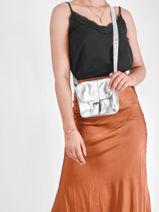 Crossbody Bag Vintage Leather Paul marius Silver vintage ESSENTIE-vue-porte